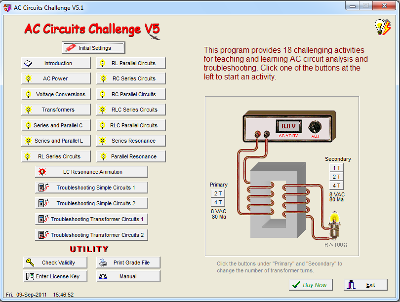 AC Circuits Challenge screen shot