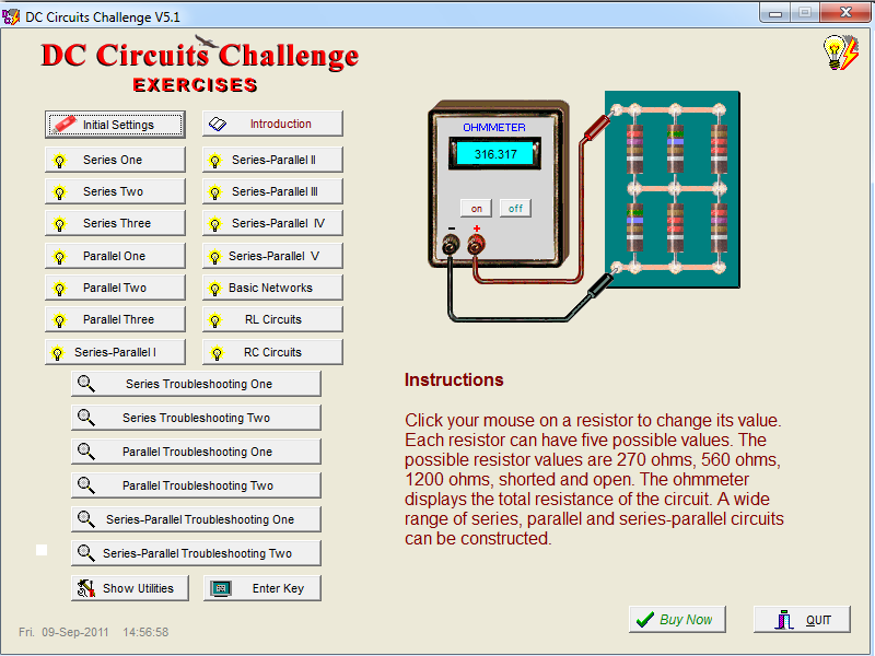 Click to view DC Circuits Challenge 5.1 screenshot